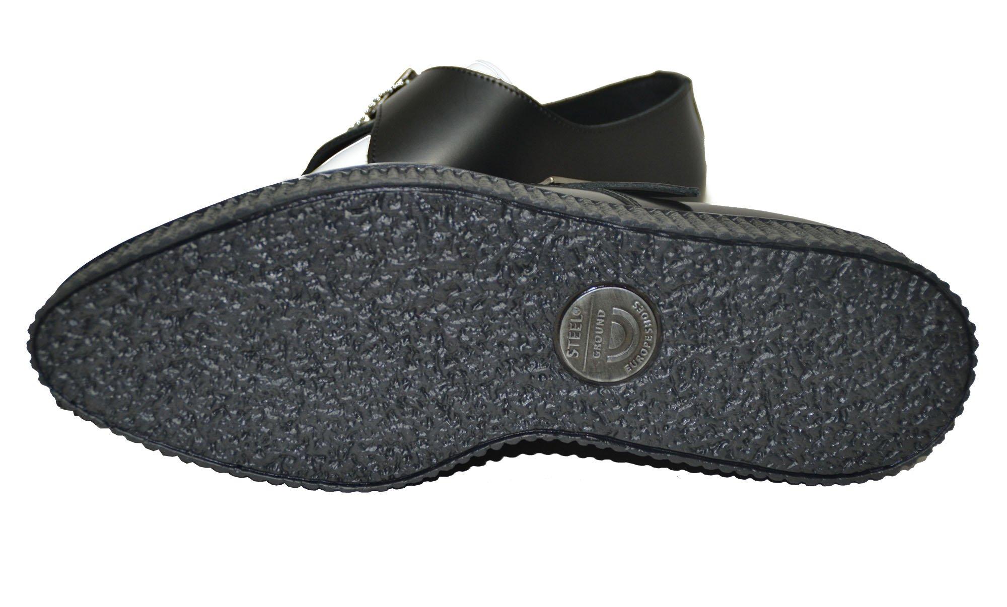 Sapato creeper pointed, com entrelaçado e fivela