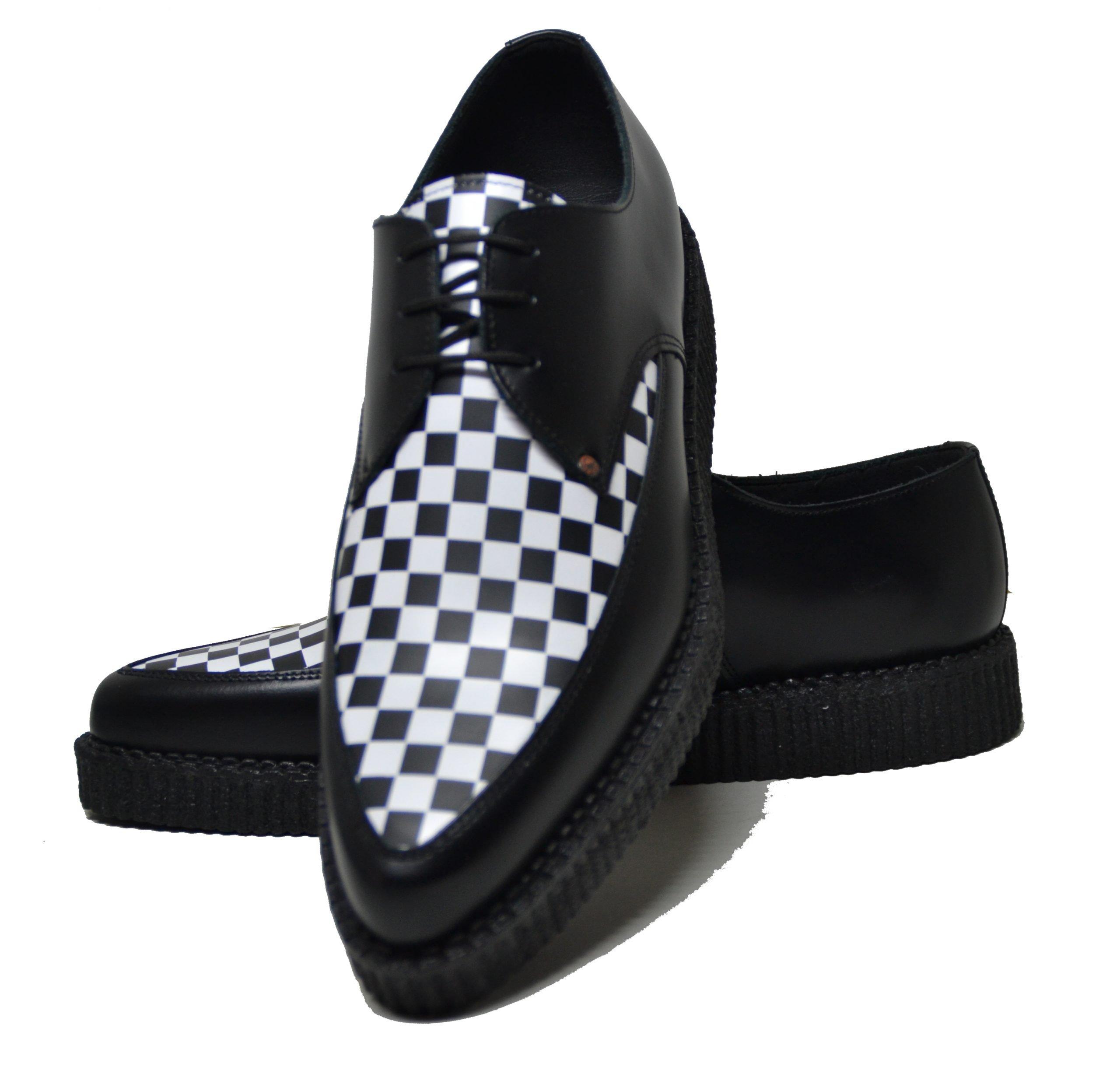 Sapato creeper pointed, com cordão e espelho liso